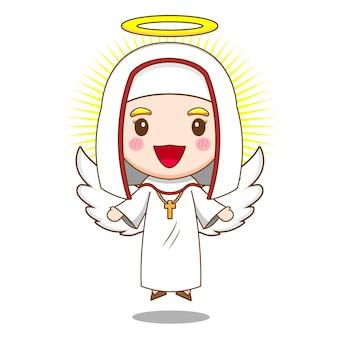 天使としてのかわいい尼僧