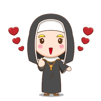 愛を与えるかわいい修道女