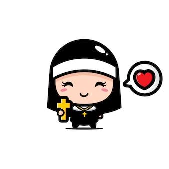 Милая монахиня держит крест