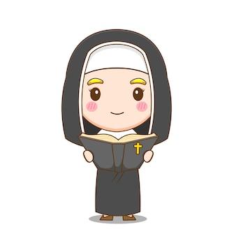 귀여운 수녀는 성경을 읽고