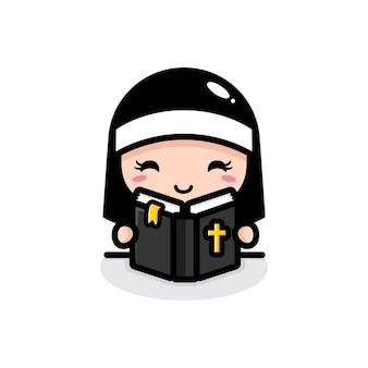 Милая монахиня читает библию