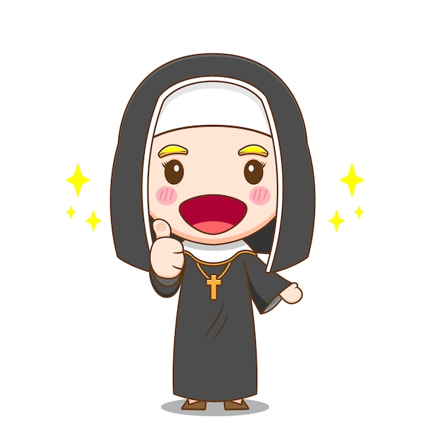 엄지 손가락을 보여주는 귀여운 수녀