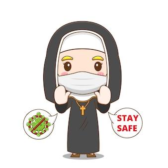 마스크를 쓰고 귀여운 수녀