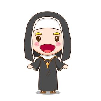 사람들을 환영하는 귀여운 수녀