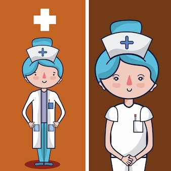 Cute nurse cartoon concept