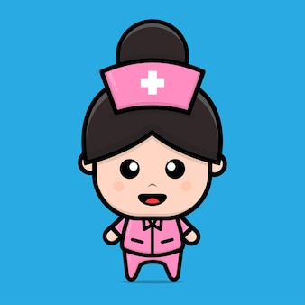 Cute nurse character cartoon illustration