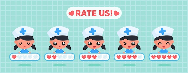 Cute nurse character holding love rating board for customer satisfaction survey of  health service