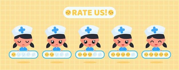 건강 서비스 고객 만족도 조사를 위해 미소 평가판을 들고 있는 귀여운 간호사 캐릭터