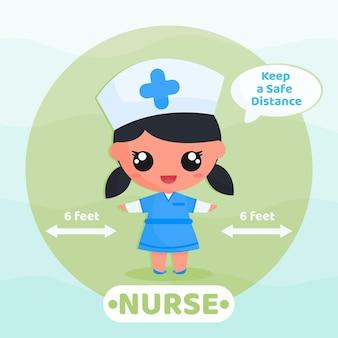 귀여운 간호사는 바이러스를 예방하기 위해 사회적 거리두기 캠페인을 실시합니다