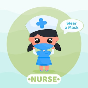 바이러스를 예방하기 위해 마스크 캠페인을 사용하는 귀여운 간호사 행동