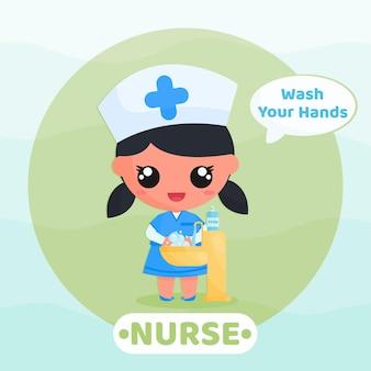 귀여운 간호사는 바이러스를 예방하기 위해 손을 씻는 캠페인을 실시합니다