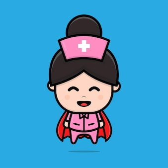 Cute nurse hero character illustration