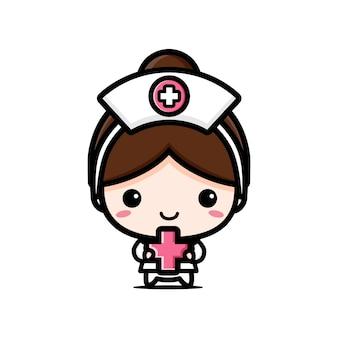 Милая медсестра держит медицинский символ