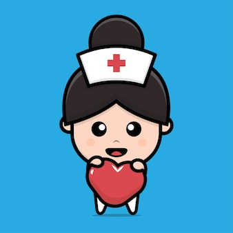 Cute nurse holding heart character illustration
