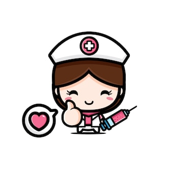 Cute nurse holding injection in good pose