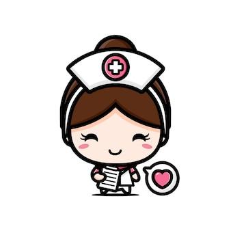 Милая медсестра, держащая медицинские карты пациента