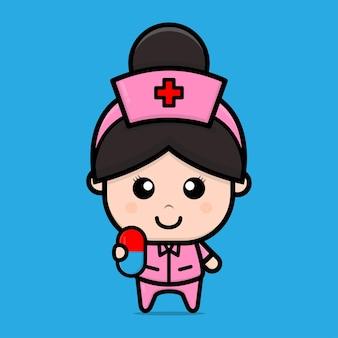 Cute nurse holding pil character illustration