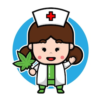 Cute nurse is holding marijuana cartoon character