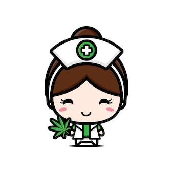 かわいい看護師はマリファナを保持しています