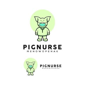 Cute nurse pig illustration wearing a mask