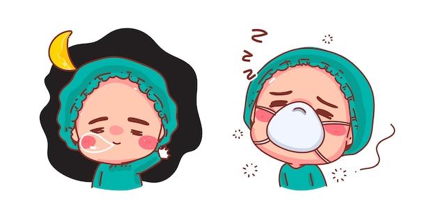 キャラクターデザインで白い背景に分離された眠くてあくびのかわいい看護師。