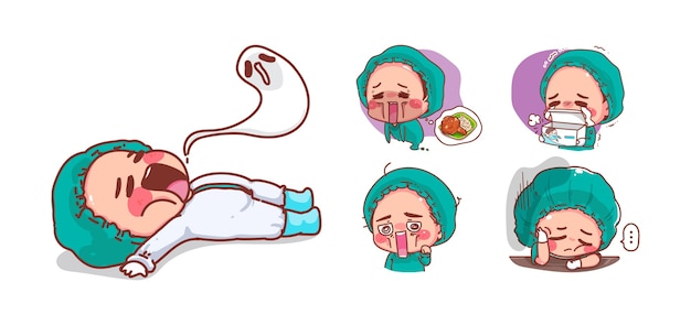 Cute nurse tired and exhaustion isolated on white background with character design.