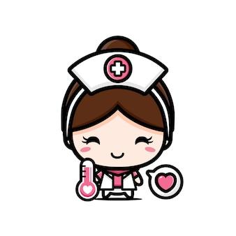 흰색 절연 온도계와 귀여운 간호사