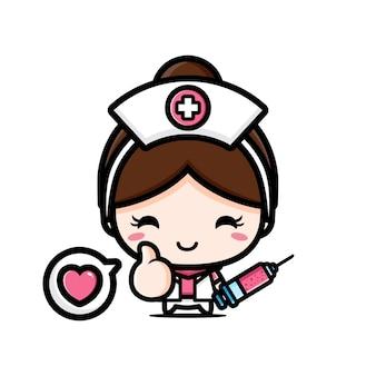 Милая медсестра с капсулами медицины, изолированными на белом