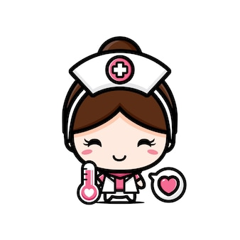 Cute nurse with a thermometer isolated on white