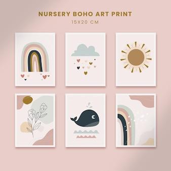 귀여운 보육 추상 포스터 예술 손으로 그린 모양 커버 세트 컬렉션