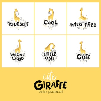 Cute nursery giraffe poster set, hand-drawing cartoon style. colorful childish cartoon illustration with lettering.