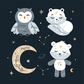 Cute nursery set with forest animals, stars .  illustration. Premium Vector