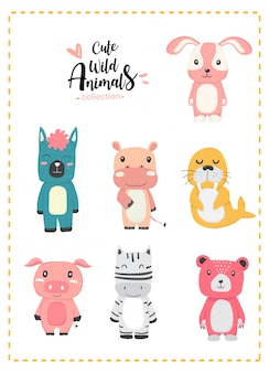 Cute nursery wild animal pastel hand drawn collection, lllama, alpaca, hippo, rabbit, pig, zebra, pink bear, seal
