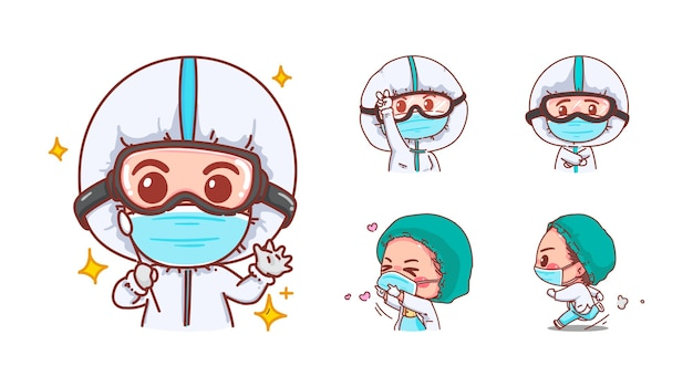 Cute nurses are happy and delighted isolated on white background with character design.