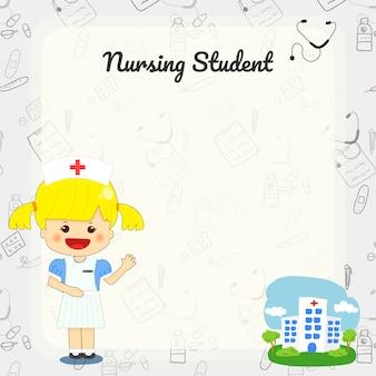 Cute nursing student cartoon hand drawn background