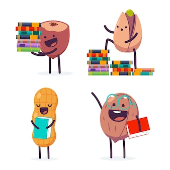 Cute nut with book vector cartoon characters set isolated on a white background.