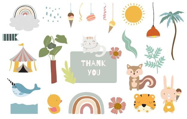 子供のための虹、動物、花とかわいいオブジェクト Premiumベクター