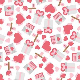Cute objects and elements of valentine's day in seamless patterns background