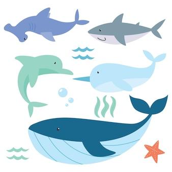 Cute ocean animal set cartoon series