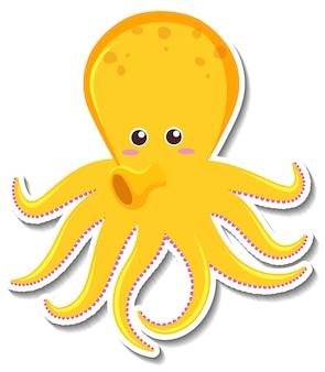 Cute octopus cartoon character sticker