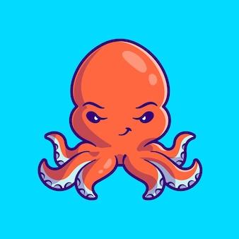 귀여운 문어 만화 벡터 아이콘 그림입니다. 동물 자연 아이콘 개념 절연 프리미엄 벡터입니다. 플랫 만화 스타일