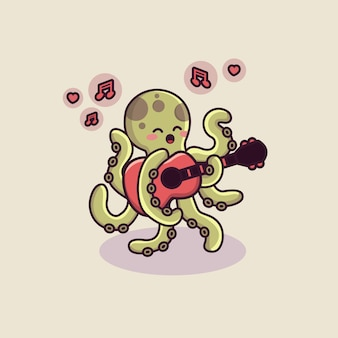 Cute octopus character playing guitar with valentine theme