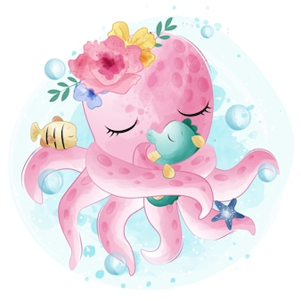 Cute octopus hugging with seahorse
