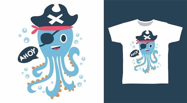 귀여운 문어 해적 ahoy tshirt 디자인