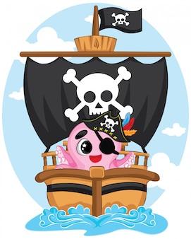 바다의 귀여운 문어 해적