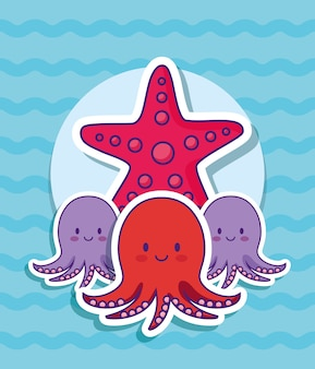 Cute octopus and sea star