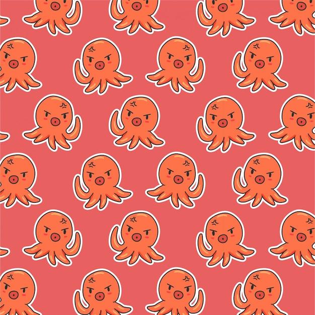 Cute octopus seamless pattern