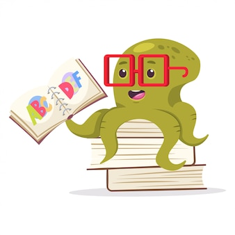Cute octopus sits on books and reading the alphabet