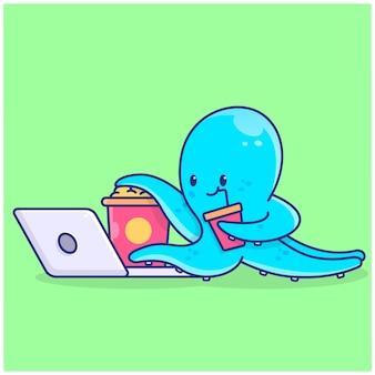 Cute octopus watching and eating illustration