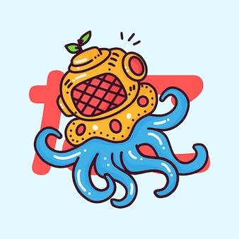Cute octopus wearing a diver helmet
